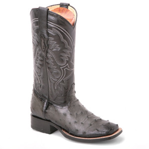 Made of a genuine ostrich skin, these boots in black from King Exotic are bound to turn every head. They feature a 13-inch high shaft and have a square toe.