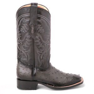 King Exotic Black Full Ostrich Saddle Boots