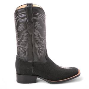 King Exotic Black Genuine Stingray Saddle Boots