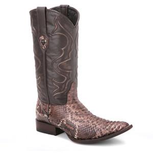 Wild West Black & Rustic Brown Python Boots