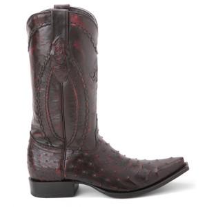 Wild West Black Cherry Genuine Ostrich Boots