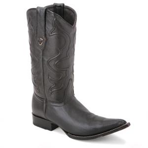 Wild West Black Genuine Elk Leather Boots