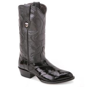 Wild West Black Genuine Eel Skin Boots