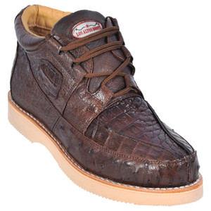 Los Altos Brown Genuine Caiman & Ostrich Skin Casual Sneakers
