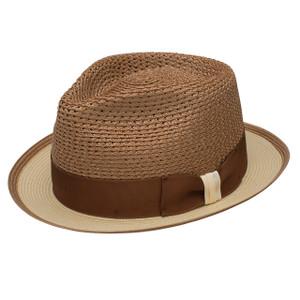 Dobbs Torero Cognac & Sand Vented Crown Milan Straw Hat
