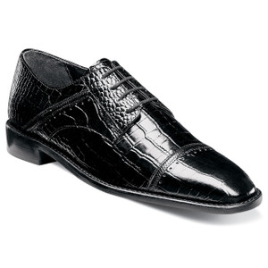 Stacy Adams Raimondo Black Printed Leather Oxfords
