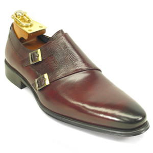 Carrucci Blood Calfskin Leather Double Monkstraps