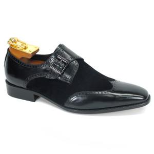 Carrucci Black Leather & Suede Wingtip Monkstraps
