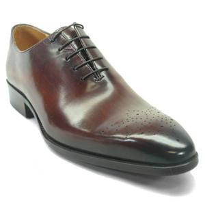 Carrucci Chestnut Calfskin Leather Toned Oxfords