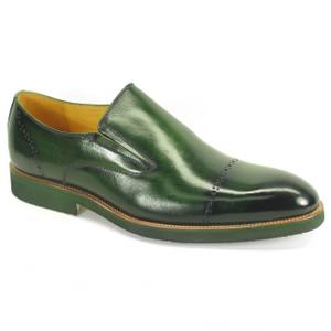 Carrucci Emerald Calfskin Leather Brushed Slip-ons