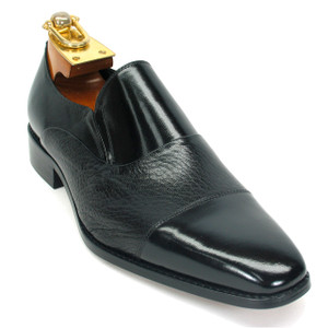 Carrucci Black Deerskin & Calfskin Dress Slip-ons