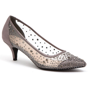 Lady Couture Silk Pewter Embellished Kitten Heels