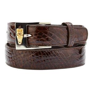 Belvedere Chocolate Genuine Alligator Dress Belt