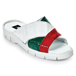 Mauri Cagnola White & Multi Crocodile Sandals