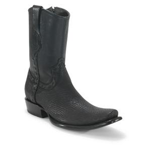 King Exotic Black Sharkskin Dubai Toe Short Boots