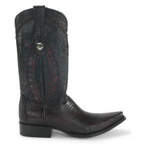 Wild West Black Cherry Teju Lizard Snip Toe Boots