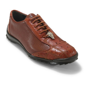 Los Altos Cognac Ostrich Patch Casual Shoes
