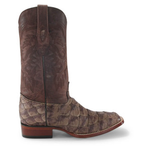 Los Altos Brown Matte Pirarucu Square Toe Boots