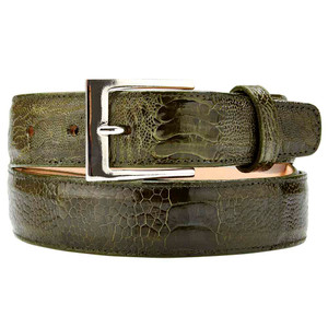 Belvedere Genuine Ostrich Olive Dress Belt
