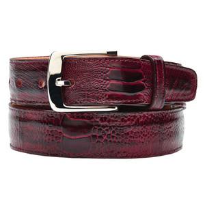 Belvedere Antique Red  Genuine Ostrich Leg Belt