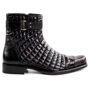Belvedere Libero Black Alligator & Quilted Leather Boots