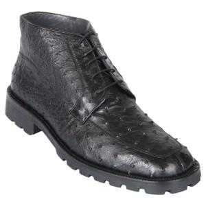 Los Altos Black Genuine Ostrich Skin Demi Boots