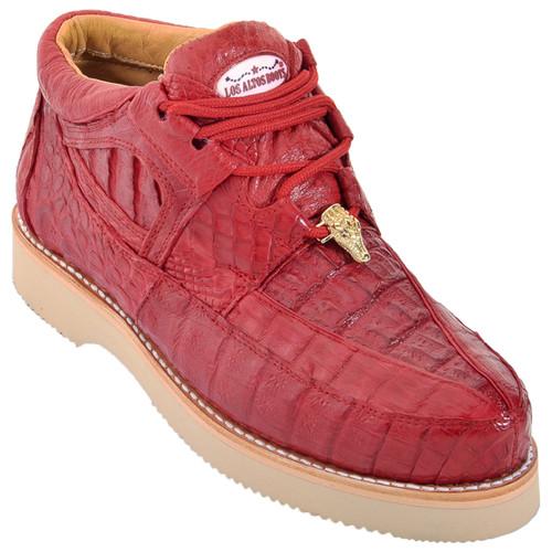 Los Altos Red Full Caiman Skin Casual Sneakers