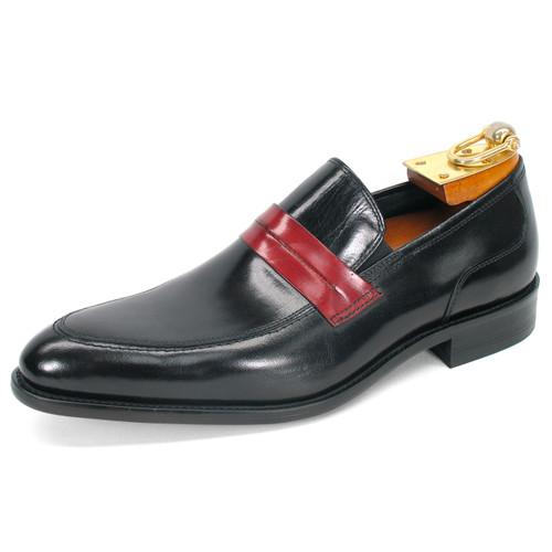 Carrucci Black Genuine Calfskin Leather Slip-ons