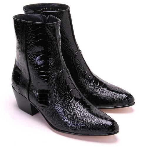 Los Altos Black Genuine Ostrich Paw Dress Boot