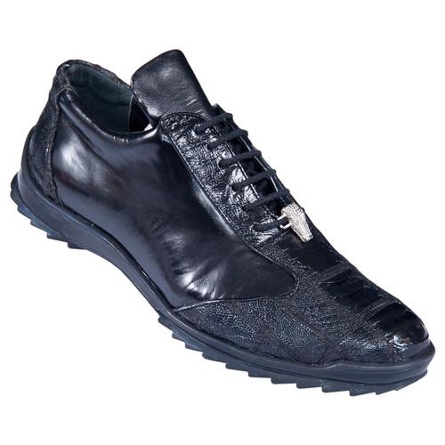 Los Altos Black Genuine Ostrich Sneaker