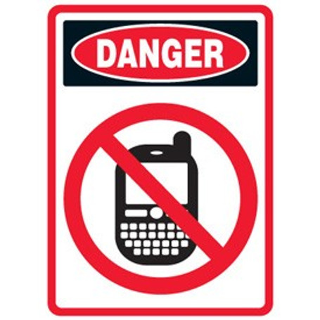 pictogram mining sign no cell phone use