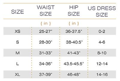 Squeem Natural Waistline Size Chart
