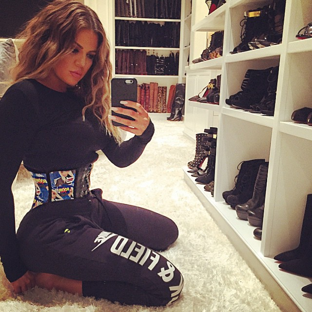 Khloe Kardashian waist cinching