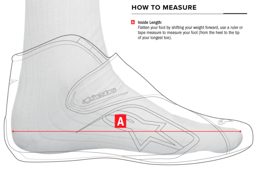 Alpinestars Shoe Size Measurement