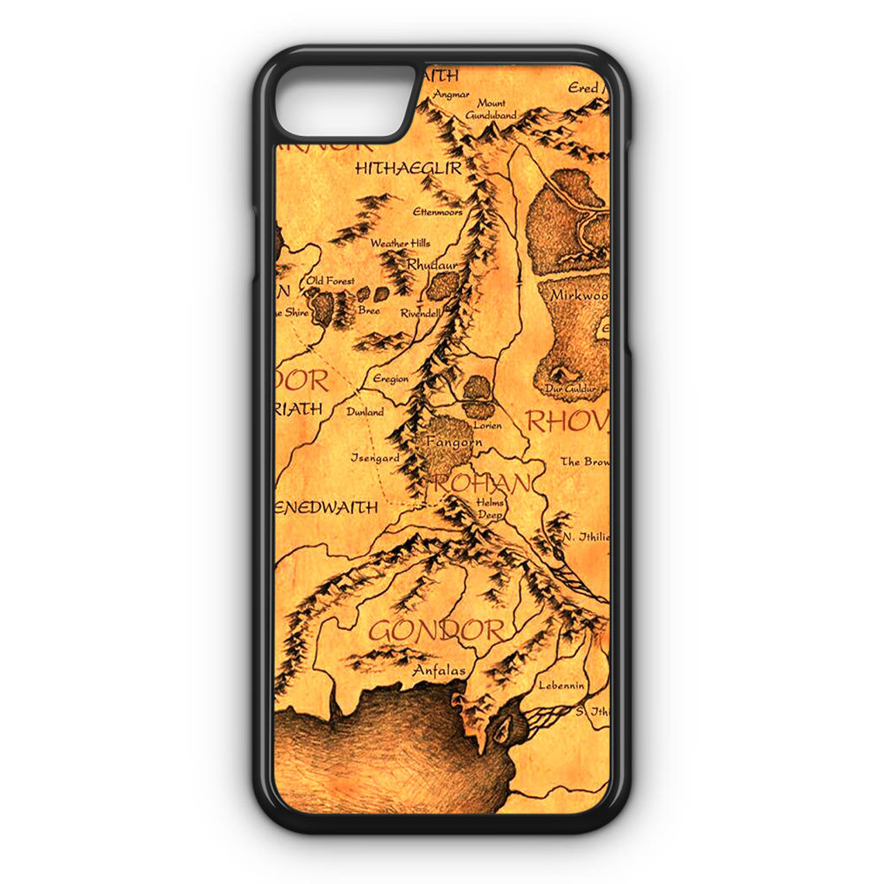 middle earth map the hobbit iphone 8 case