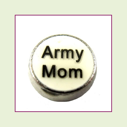 Army Mom White Round (Silver Base) Floating Charm