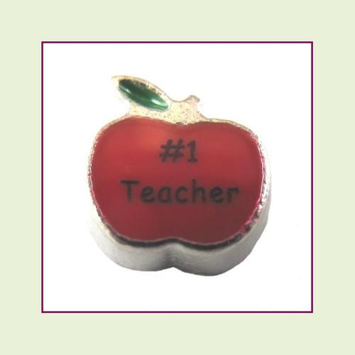 Apple - #1 Teacher (Silver Base) Floating Charm
