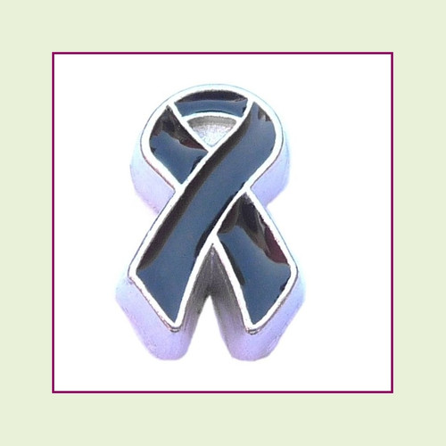 Awareness Ribbon - Black (Silver Base) Floating Charm