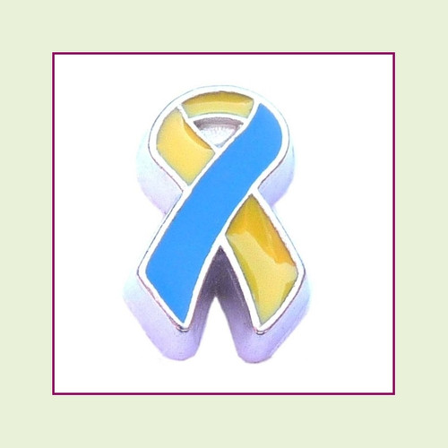 Awareness Ribbon - Blue/Yellow (Silver Base) Floating Charm