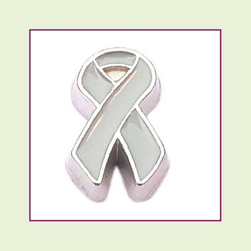 Awareness Ribbon - Gray (Silver Base) Floating Charm