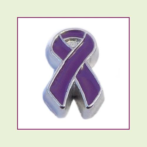 Awareness Ribbon - Purple (Silver Base) Floating Charm