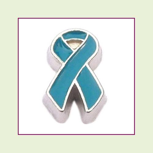 Awareness Ribbon - Teal (Silver Base) Floating Charm