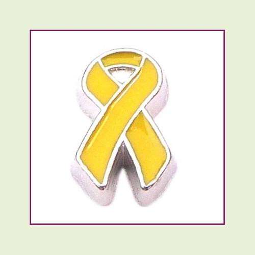 Awareness Ribbon - Yellow (Silver Base) Floating Charm