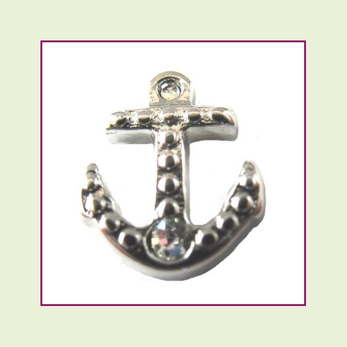 Anchor Silver with Crystal Floating Charm