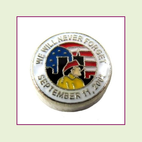911 Memorial (Silver Base) Floating Charm