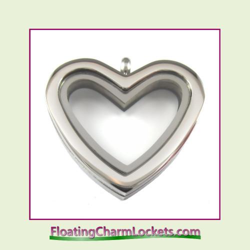 Plain Silver Regular Heart Stainless Steel Floating Charm Locket