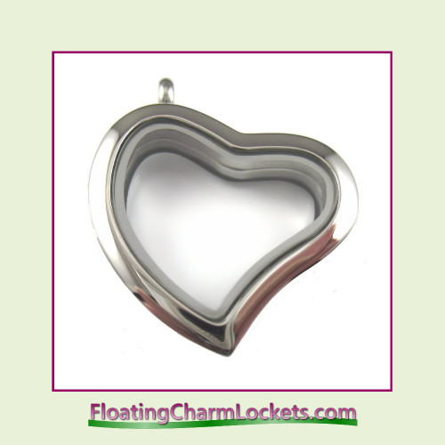 Plain Silver Curved Heart Stainless Steel Floating Charm Locket