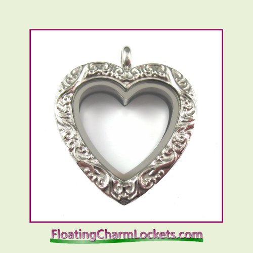 Silver Vintage Heart Stainless Steel Floating Charm Locket