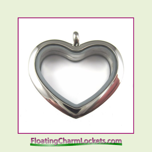 Plain Silver Rounded Heart Stainless Steel Floating Charm Locket
