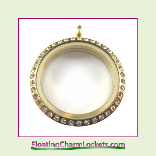 CZ Gold 30mm Large Round Stainless Steel Floating Charm Locket